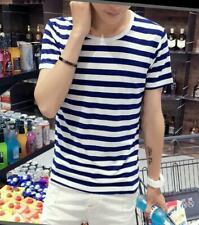 Casual Mens T-shirt Round Collar Short Sleeve Stripes Breathable Slim fit tops@I