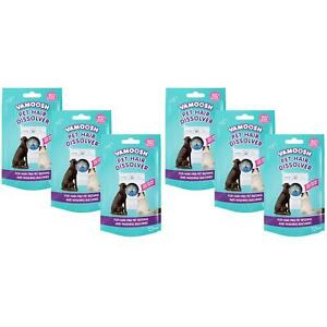 6 x Vamoosh Pet Cat/Dog Hair Dissolver Remover Sachets For Washing Machine 100g