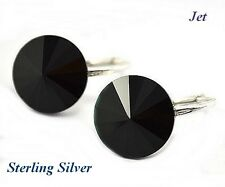 *STERLING SILVER* - RIVOLI - Jet Earrings made with SWAROVSKI Crystals
