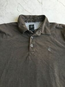 Volcom Logo Polo Youth XL Gray Short Sleeve Cotton Shirt