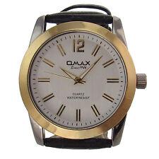 Herren Armbanduhr Omax Design Analog Quarz Uhr Ziffern Leder Armband schwarz