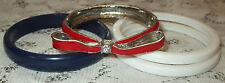 Vtg Red/White/Blue Bracelet Lot~Enamel Bow Rhinestone Clamper~Plastic Bangles