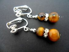 Plated Clip On Earrings. New. A Pair Of Tigers Eye Silver
