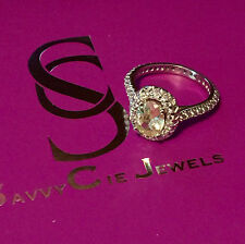 NEW SAVVY CIE 6.5 TCW CZ Oval Halo Ring Silver Plated 6 Retail $295 Gorgeous