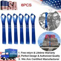 6Pcs Durable Soft Loop Tie Down Straps 1500 Load Capacity 4500 Lbs Breaking Blue