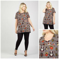 IZABEL CURVE BOHO OWL PRINT ROUND NECK SHORT SLEEVE TUNIC DRESS RRP £26.00