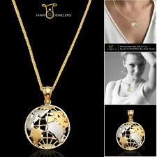 10K Real Yellow White Gold Two Tone Diamond Cut World Globe Map Charm Pendant