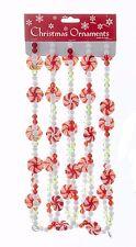 KSA 9' ACRYLIC RED/GREEN/WHITE BEADED GARLAND w/ROUND PEPPERMINT SWIRL CANDY
