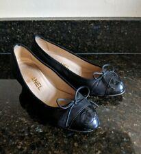 CHANEL CC Black Leather Cap Toe Classic Bow Kitten Heels Pumps Size 35 / 5