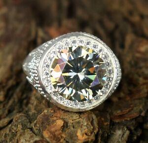8.45 Ct Rare Design Green Diamond Solitaire Halo Men's Heavy Setting Ring