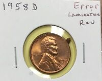 1958-D LINCOLN wheat cent LAMINATION error  FRAGMENT broken away!