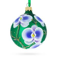 Blue Orchids Glass Christmas Ornament 3.25 Inches