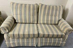 MultiYork 2 Seater Sofas (3 Matching Available) Steel Blue Grey Beige Stripes