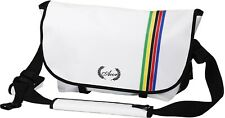Retro Style Acor Messenger Bag: White with World Champions Rainbow Bands