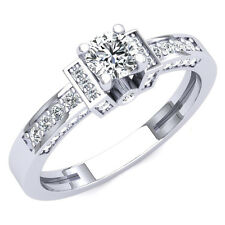 10K White Gold Round White Cubic Zirconia Bridal Engagement Ring 1 Ct (Size 8)