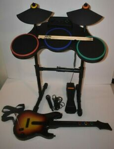 Playstation 3 GUITAR HERO WIRELESS DRUM SET Pedal/ Sticks/Microphone/Guitar
