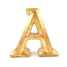 """Decorative Letter A Gold Colored with Hole for Hanging on Back 4.25"""" Tall"""