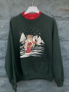 Vintage Jerzees Christmas Sweatshirt Green Sweater Men's Size XL