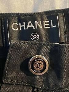 Chanel Black distressed Denim Jeans with quilted accent Pants Size 34