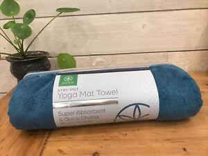"Gaiam Stay Put Yoga Mat Towel Full Size Lake ( Blue /Teal ) 26"" W x 70"" L NEW"