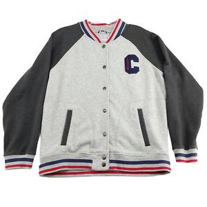 Champion Varsity Letterman Jacket Womens Sweatshirt Large Gray Logo Spellout