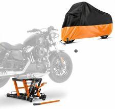 Motorrad Hebebühne + Abdeckplane XXL Motorradheber Hydraulik-Lift L orange