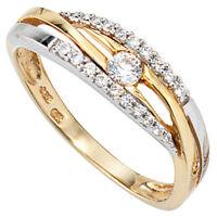 Ring Goldring Damenring mit Zirkonia, 333 Gold, Gelbgold & Weißgold