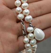 "& Shell Pearl Pendant Necklace 18"" New Fashion 7-8mm White Akoya Cultured Pearl"
