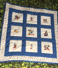 Vintage Handmade Baby Quilt Machine Embroidered Disney Characters 37� X 37�