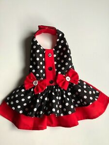 Handmade red and black polka dots doggie 🐶 dress 👗 size Small