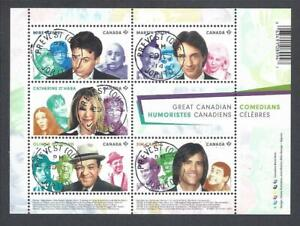 2014 Great Canadian Comedians Souvenir Sheet First Day Cancel