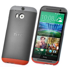 NEW HTC C940 DOUBLE DIP HARD SHELL CASE COVER FOR HTC ONE M8 GREY RED 99H11435