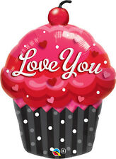 """VALENTINE'S DAY PARTY SUPPLIES 35"""" I LOVE YOU BALLOON CUPCAKE FOIL BALLOON"""