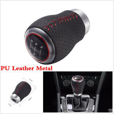 5 Speed Black & Red Stitching Leather Manual Car Gear Shift Knob Shifter Lever