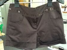 Next Ladies Shorts Chocolate Brown Sequins UK Size 10
