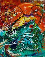 Feelings - original playful acrylic painting on stretched canvas by Galina