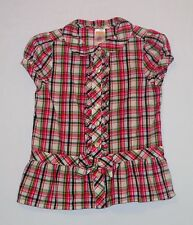 """Gymboree """"Smart & Sweet"""" Bow Ruffled Button Front Pink Plaid Top, 5"""