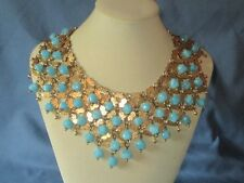 FABULOUS Vintage Gold-Tone Metal Blue Glass Bead Cleopatra Style Collar Necklace
