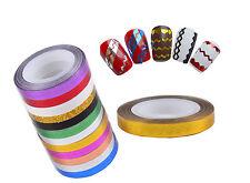 12Pcs Mix Multi-colors Wave Rolls Striping Tape Line Nail Art Decoration Sticker
