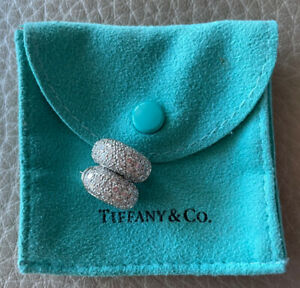 Authentic Tiffany & Co pave doamond hoops