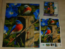 Garden Gate Bluebirds Jigsaw Puzzle 1000 Hautman Brothers Wild Animal Flowers