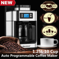 Excelvan Filter Coffee Maker Machine 10 Cup, Timer & Automatic Beans Grinder S/S