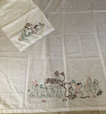 Vintage Baby Crib Flat Sheet and pillow case Rabbit Deer Bambi Handmade