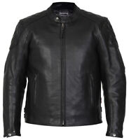 Mens Leather Motorbike Motorcycle Jacket Biker Black CE Armoured Diamond Skintan