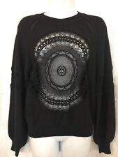 Chloe Sweater Black Embroidered Perforated Front And In Full Sleeve Nwt Size Xs