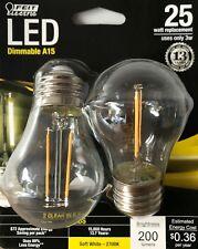 2 FEIT Electric 25-Watt Dimmable A15 LED Light Bulbs w/ Standard Medium Base