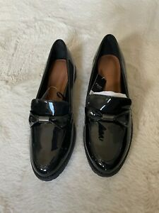 Next black patent loafers 38w