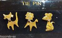 3er Set Brosche Hund Katze Maus Anstecknadel Pin Brooch vergoldet Krawattennadel