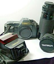 Canon T70 35 mm Camera w/Tamron-F & Albinar Zoom 80-200 mm Len & Canon  Flash