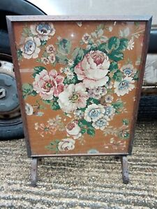Vintage Fire Screen Antique. Stitched Fabric . Floral wood wooden